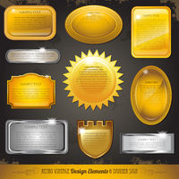 Golden luxury labels and banners collection set
