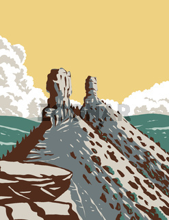 Chimney Rock National Monument in San Juan National Forest in Southwestern Colorado WPA Poster Art