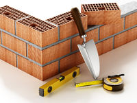 Laid bricks and construction tools isolated on white background. 3D illustration
