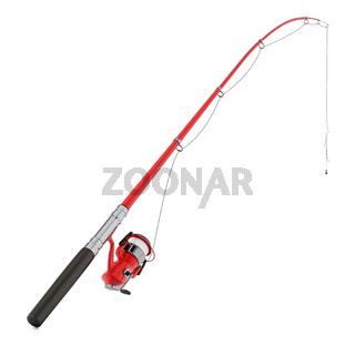 Fishing rod isolated on white background. 3D illustration