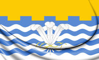 3D Flag of George Town (Penang), Malaysia. 3D Illustration.