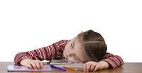 tired girl slipping on books