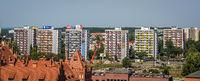Blocks of flats in Torun town seen from above