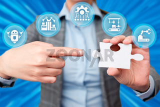 Business Woman Holding Pointing At Jigsaw Puzzle Piece Unlocking New Futuristic Technologies. Palm Carrying Puzzles Part Displaying Solving Late Innovative Virtual Ideas.