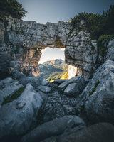 Rock window on Mount Loser in Alps. Austia.