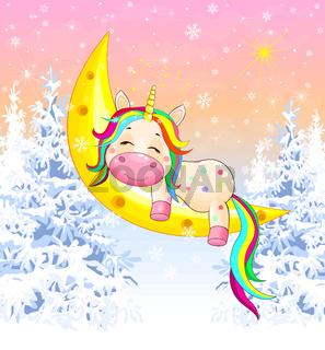 Unicorn moon winter forest Ñhristmas