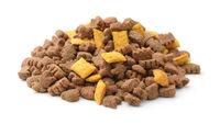 Pile of dry brown pet food