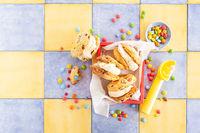 Eiscreme Sandwich mit Schokolinsen