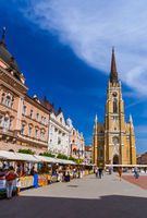 NOVI SAD, SERBIA - SEPTEMBER 15: Walking people in old town Novi Sad on September 15, 2015 in Novi Sad, Serbia