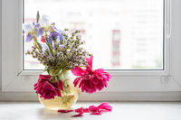 withered flowers in glass vase on window sill