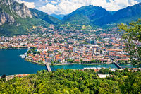 Town of Lecco panoramic view fron the hill