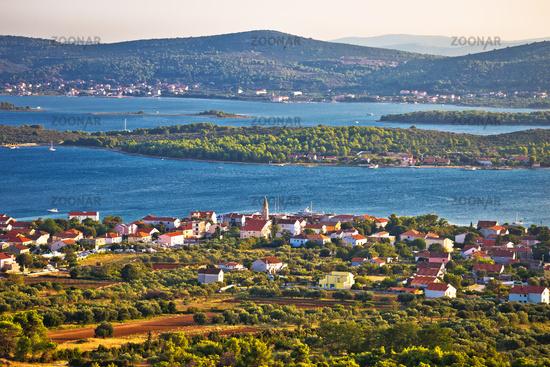 Turanj village and Pasman island archipelago panoramic view