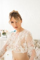 Sexy alluring woman in delicate lace garment