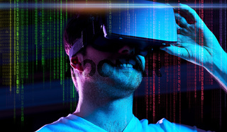 man in vr glasses over neon lights and binary code