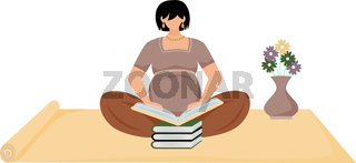 Pregnant woman reading book flat vector illustration. Learning, maternity preparation. Expectant mother sitting on floor with stack of books cartoon character on white background