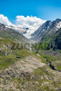 Blick Richtung Langtalereckhütte und Langtaler Ferner, Ötztal, Tirol, Österreich