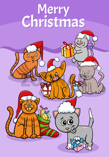 design or card with cartoon cats on Christmas time