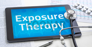 The word Exposure Therapy on the display of a tablet