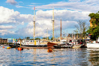 Old sailing ships moored at the quay in Stockholm harbor