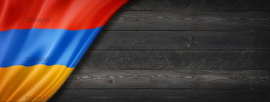 Armenian flag on black wood wall banner