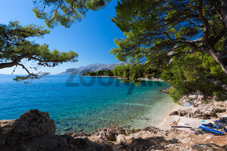 Bay at Croatian beach at a sunny day, Brela, Croatia