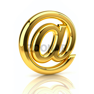 Golden email sign. Isolated on white