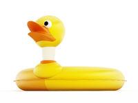 Yellow duck lifebuoy isolated on white background. 3D illustration