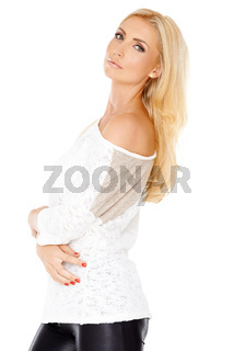 Elegant woman with long blond hair