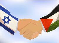 Israel and Palestine handshake, concept illustration on blue sky