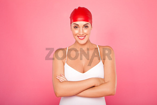 Happy female swimmer