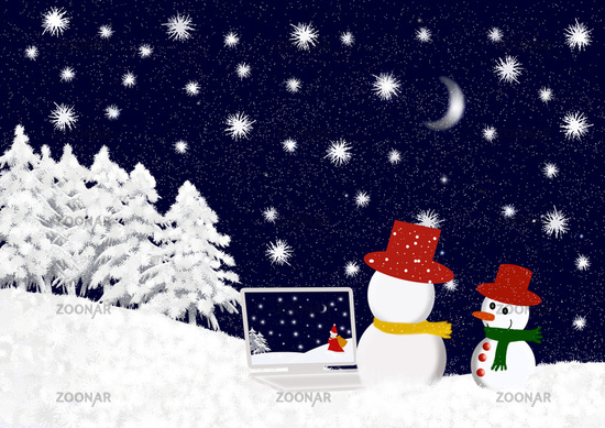 snowmen with laptop