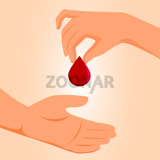 Blood donation concept. Drop of blood hold in hand