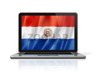 Paraguayan flag on laptop screen isolated on white. 3D illustration