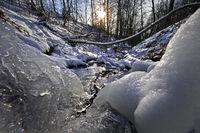Icy Gederbach in winter, Witten, Ruhr area, North Rhine-Westphalia, Germany, Europe