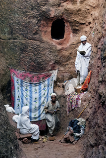 people at rock hewn chueches of lalibela ethiopia