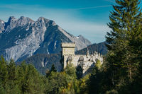 View the tyrolian alps panorama with magic castle Seefeld