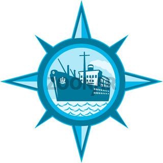 Passenger Cargo Ship Ocean Liner Compass