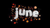 A white plump word June surrounded by orange spheres isolated on a black background 3d illustration
