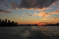 Skyline of Sydney at sunset.