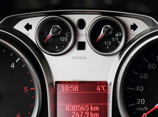 Close up of car dashboard on sports car