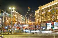 Manezhnaya Square, Tverskaya street in Moscow at night. Russian Federation.