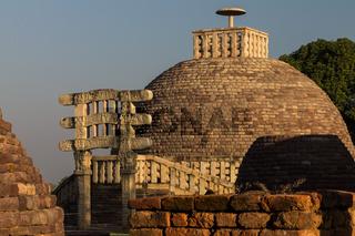 Stupa 3. Buddhist Monuments at Sanchi. UNESCO World Heritage Site. Sanchi, Madhya Pradesh, India