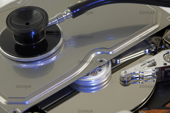 Open disk with stethoscope