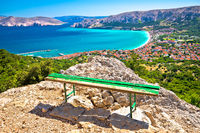 Adriatic town of Baska aerial view from hiking trail, Island of Krk