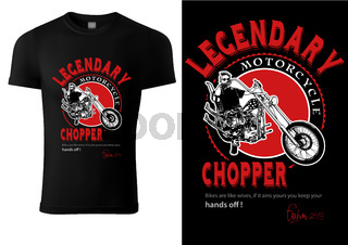 Black T-shirt Design with Motorcyclist and Inscriptions