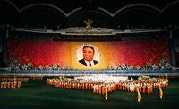 Ariran Mass Games show portrait of Kim Il Sung