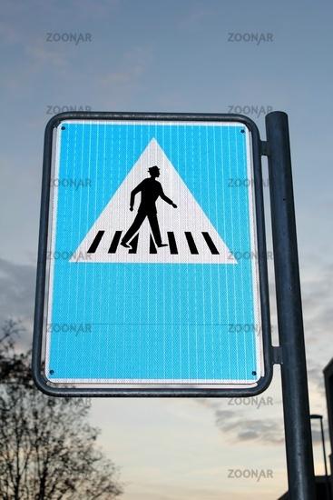 Road sign pedestrian crossing crosswalk