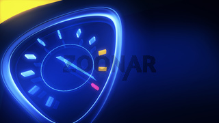 Speedometer in an artistic neon glow style. 3d illustration top speed concept with copy space to add your text