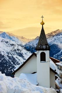 Church at mountains ski resort Solden Austria