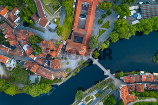 Amarante drone aerial top view with beautiful church and bridge in Portugal at sunrise